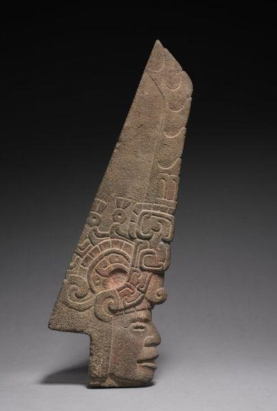 Ballgame Thin Stone Head (Hacha), 600-900 Mexico, Gulf Coast, Classic Veracruz style (600-1100)