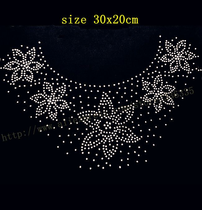 Free shipping flower pattern collar pattern #9 hotfix rhinestones motif heat transfer iron on patch garment accessory