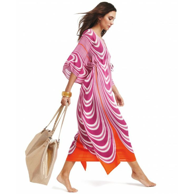 In our machine washable silk, our Swirling Stripes Long Double V dress is made for cabana lounging seaside.