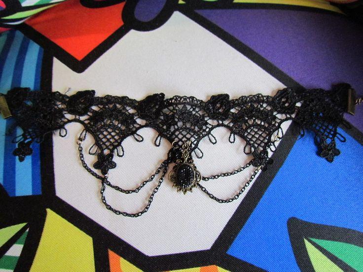 Gargantilha gótica preta, pingente oval strass