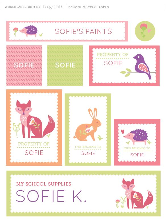 It is back-to-school time and what a perfect way to personalize all of your kid\\\'s school supplies with these Scandinavian style labels. The label designs from Lia Griffith from liagriffith.com, feature a fox, bunny, hedgehog and little bird who are all ready and excited for the first day of school. Choose ...