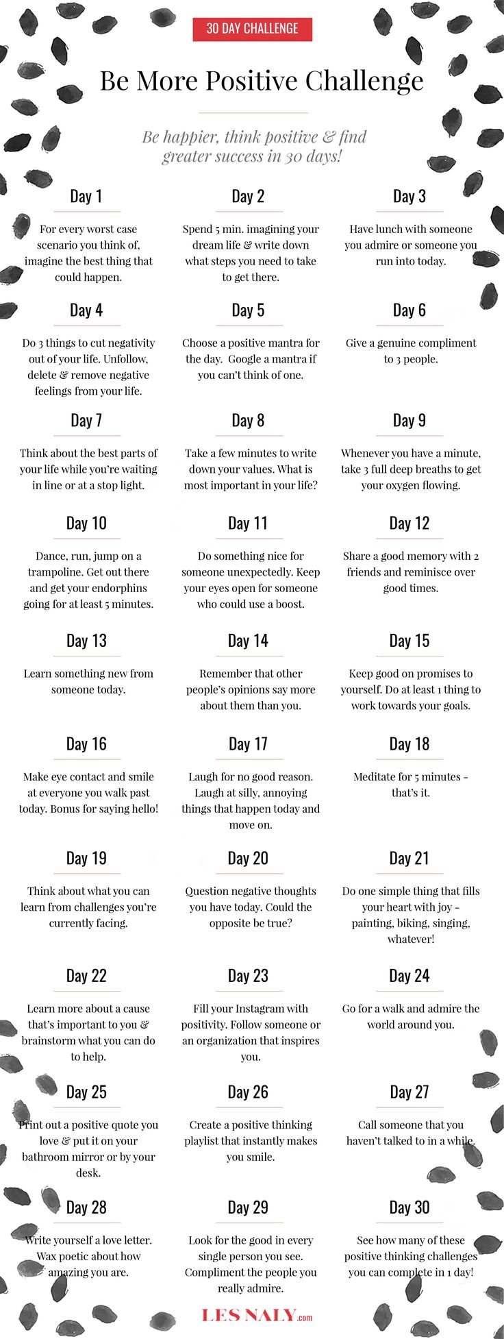 30 Day Be More Positive Challenge: Be Happier, Think Positive, & Find Greater Success in 30 Days! - Les Naly