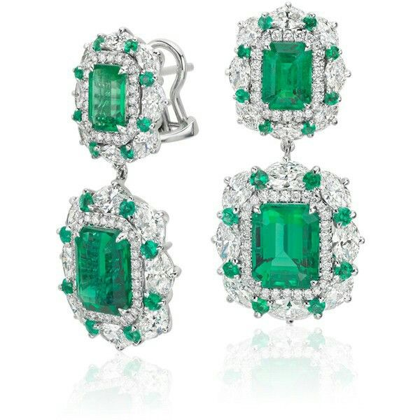 Blue Nile ~ Emerald and Diamond Earrings