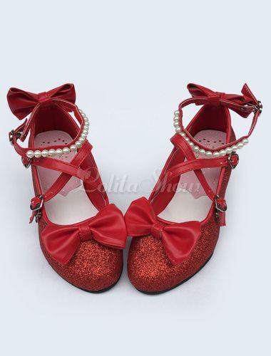 e86239b2f7d Lolitashow Sweet Lolita Shoes Pearlized Leather Lolita Heel Shoe ...