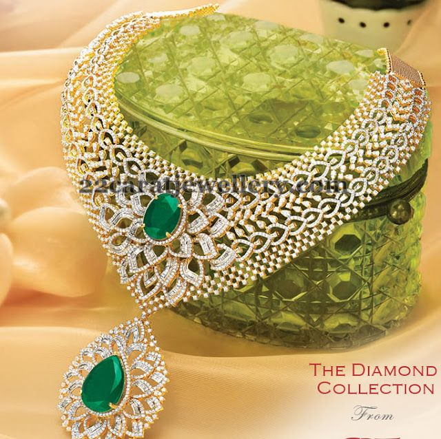 Jewellery Designs: Diamond Emerald Bridal Necklace