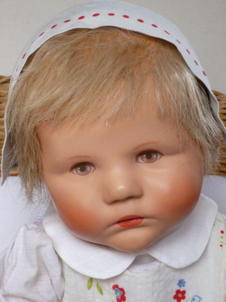 Käthe Kruse Puppe Träumerchen mit Haaren Magnesitkopf,Strahleniris,beschwert