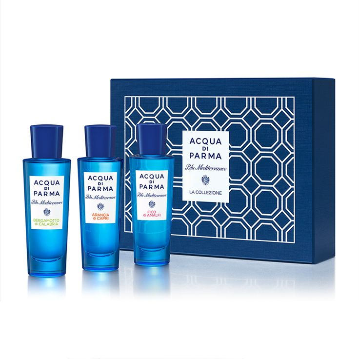 Acqua di Parma Blu Mediterraneo La Collezione 3 x 30ml.  The energy, sun and colours of the Italian Mediterranean.   Now available in a limited edition set inspired by the ancient art of majolica ceramics which adorns the most iconic places of the Mediterranean coast. A unique selection of three invigorating Blu Mediterraneo fragrances in a convenient 30ml format - Bergamotto di Calabria, Arancia di Capri and Fico di Amalfi - presented in an elegant coffret.