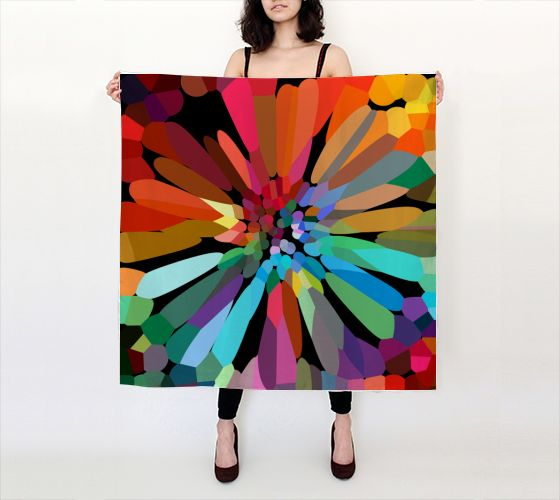 "Big Square Scarf (36"" x 36"") """"flower"" Large Square Scarf"" by Shandra Smith Art"