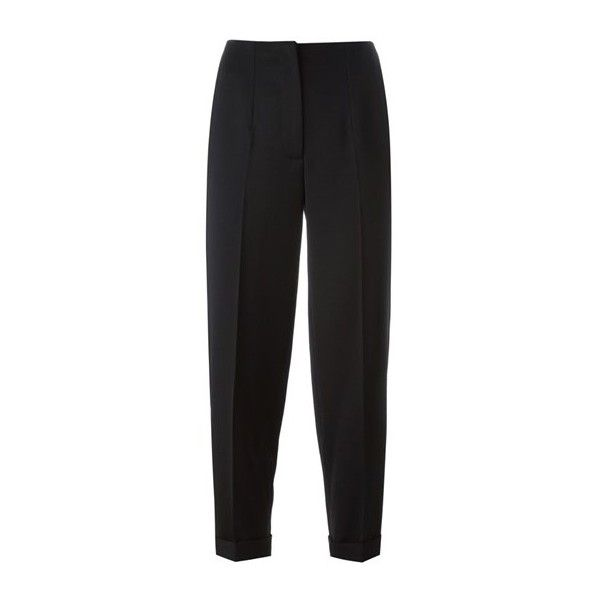 ALEXANDER McQUEEN Cropped Trousers (4,080 CNY) ❤ liked on Polyvore featuring pants, capris, black, black trousers, alexander mcqueen, cropped trousers, black crop pants and cropped capri pants