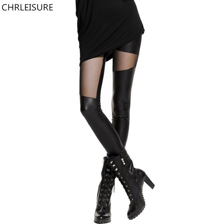 S-XL Sexy Women Leather Stitching Leggings Fashion Lace Black Leggings For Women Plus Size Leather Legging Punk Gothic Rock