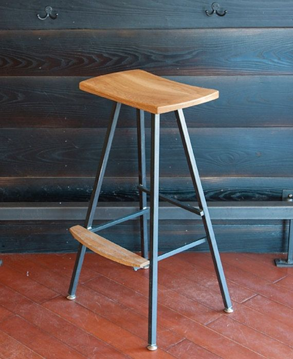 Modern, industrial bar stool or kitchen stool. Both durable & comfortable. We hand-make these stools in our small shop in Vermont. Barstool.