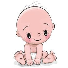 Vektor: Cute cartoon baby boy