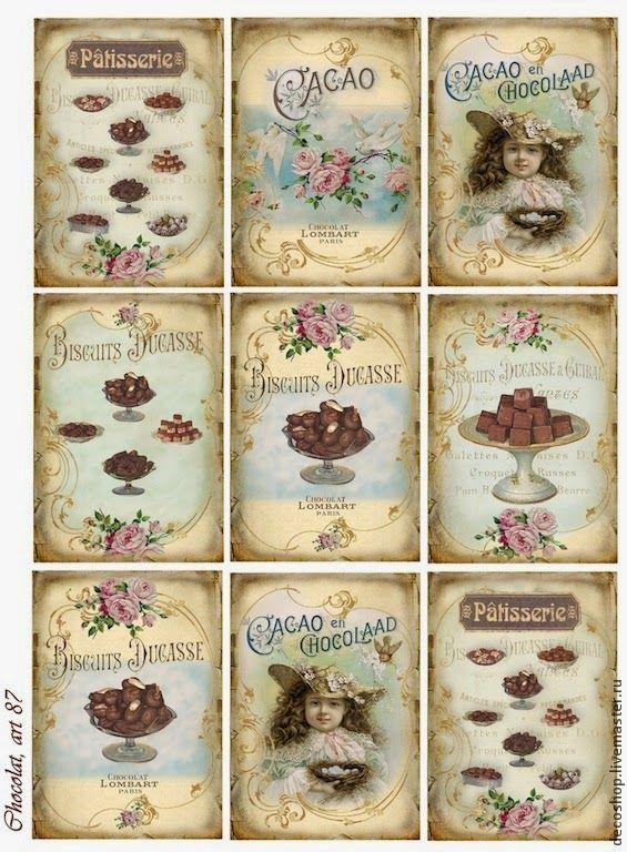Etiquetas Vintage de Chocolates para Imprimir Gratis.