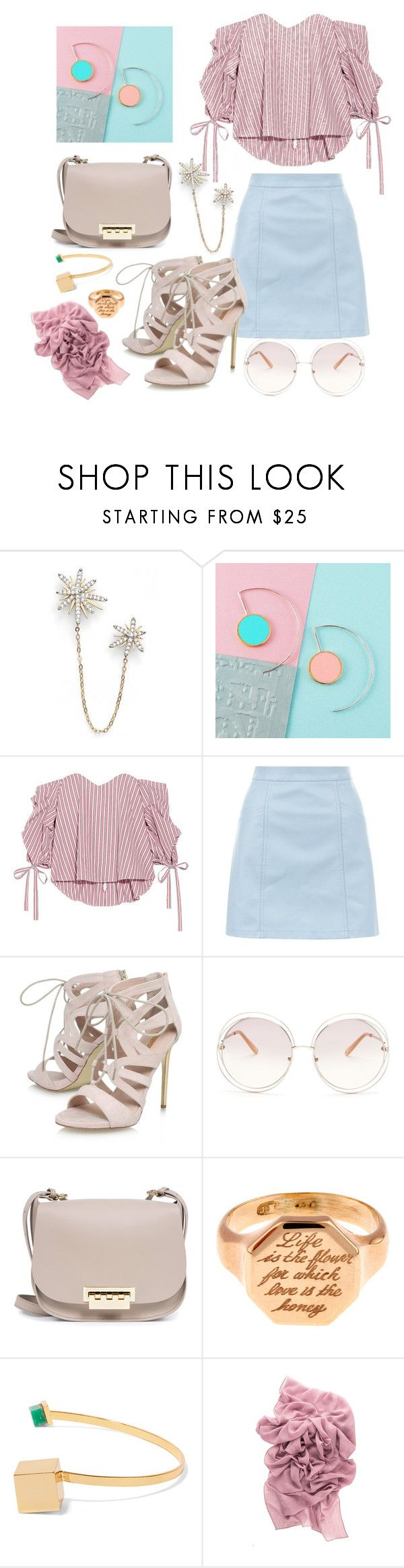 """Soft pink"" by roseuniquestyle ❤ liked on Polyvore featuring Nadri, Caroline Constas, New Look, Carvela, Chloé, ZAC Zac Posen, Annina Vogel and Paula Mendoza"