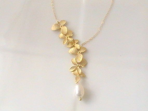 Lariat Orchid Necklace    #jewelry #necklace #anniversary #wedding #gifts #bridal