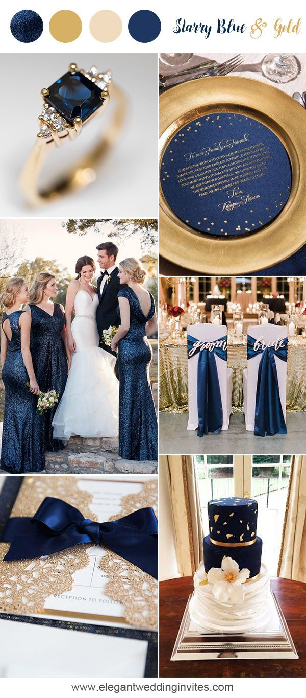 Starry blue and gold classic wedding party ideas
