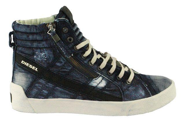 Diesel   D-String Plus   High Top Sneaker - indigo blau  #diesel #dieselsneaker #denim #oldschool