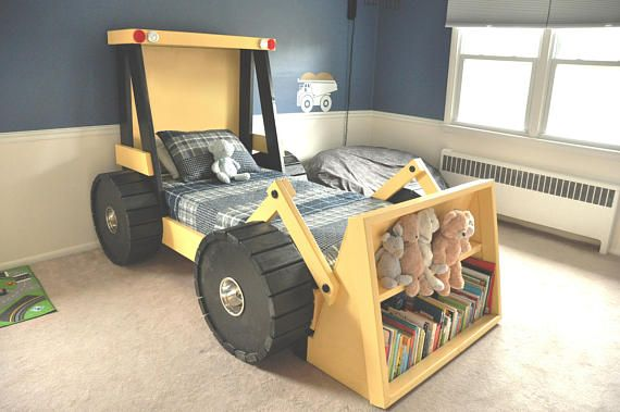 Construction Truck Bed PLANS (in digital format) – For a DIY Construction Themed Room – Kid Bedroom Decor