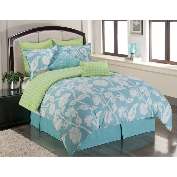 "Bedding on Amazon  ""Sunset and Vine Marigold 6-Piece XL Twin Comforter Set, Blue/Green"""