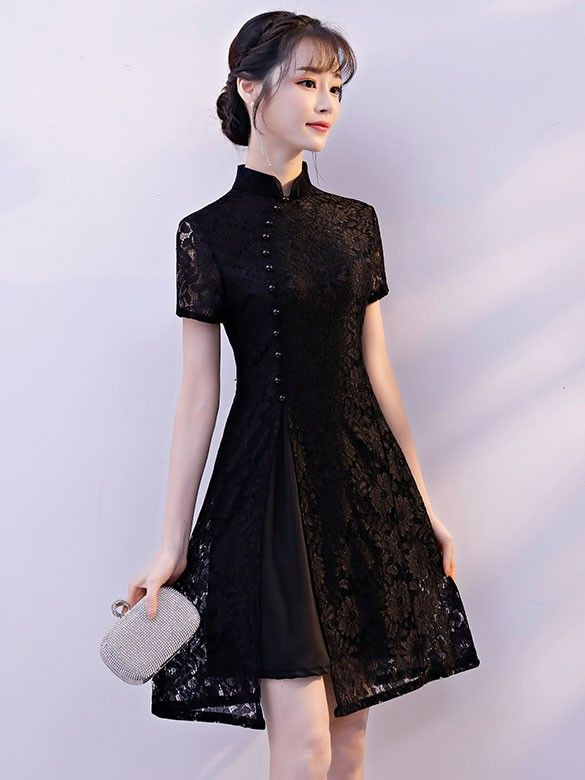 Black Lace A-Line Qipao / Cheongsam Cocktail Dress - CozyLadyWear