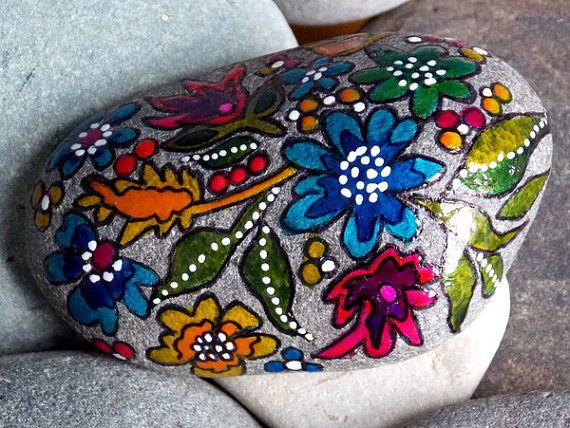 Serenity Garden / Painted Rock / Sandi Pike Foundas / Cape Cod Sea Stone  $45