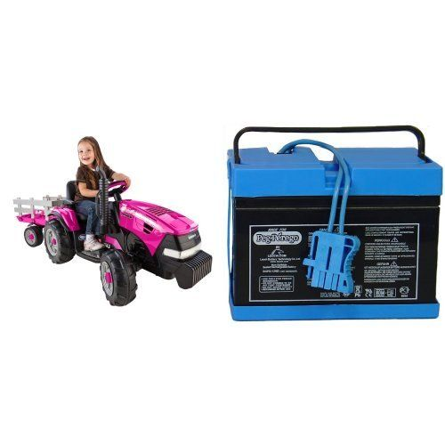 Peg Perego Case IH Magnum Tractor Pink Ride On with Trailer with 12 Volt Battery Bundle...