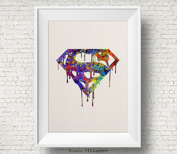 Superman Watercolor Print watercolor painting by IvanHristov