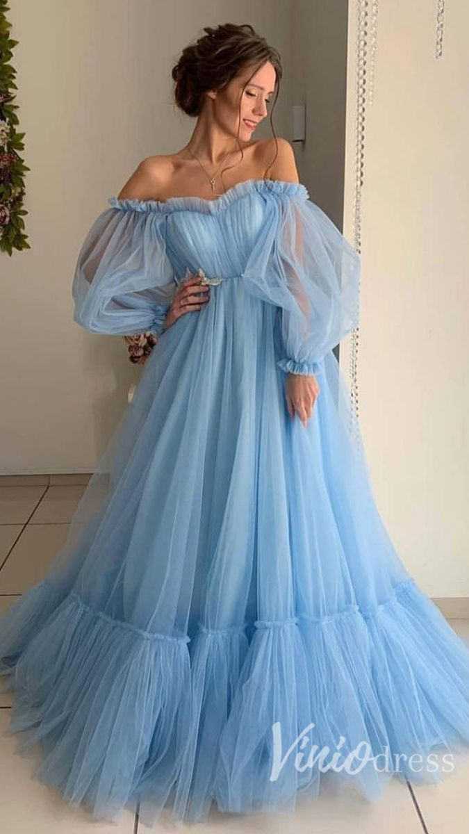 Long Sleeve Sky Blue Prom Dresses Off The Shoulder Formal Dress Fd1527 Unique Prom Dresses Gowns Dresses A Line Prom Dresses [ 1200 x 675 Pixel ]