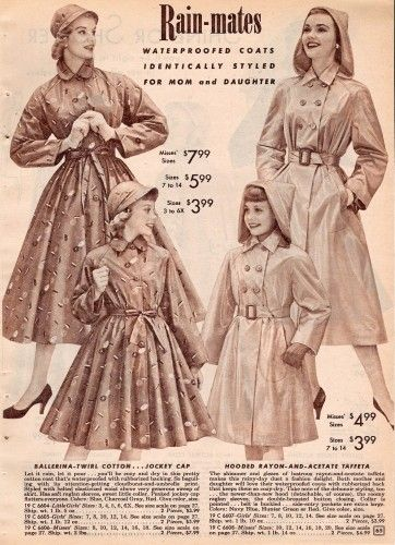 History of 1950s Coats and Jackets: 1957 Long Rain Coats for Women and Girls