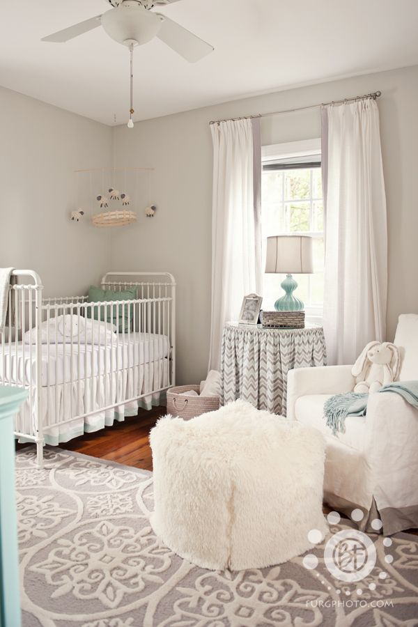 Gray and white gender neutral #nursery with turquoise accents: Wall Colors, White Nurseries, Colors Schemes, Projects Nurseries, Cribs, Neutral Nurseries, Baby Rooms, Rugs, Nurseries Ideas