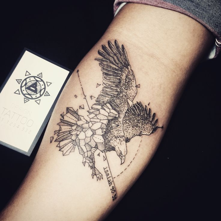 designed by #Kerbyrosanes tattoo by Bảo Nguyễn from #vietnam #danang #eagle #geometric #tattoo #design