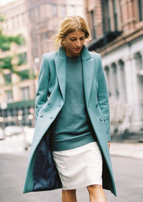 amazing dusty jade green sweater and overcoat with white skit #streetstyle