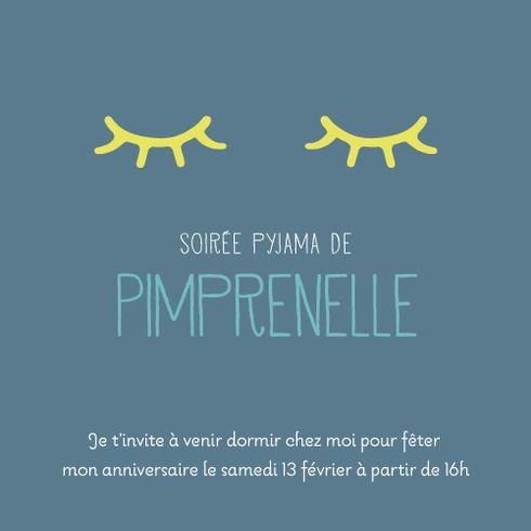Carte d'anniversaire Soirée pyjama photo by Tomoë pour pour www.fairepartnaissance.fr #birthday #kids #invitation