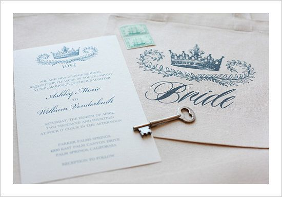 These crown wedding invitations are fit for royalty. Source: Wedding Chicks