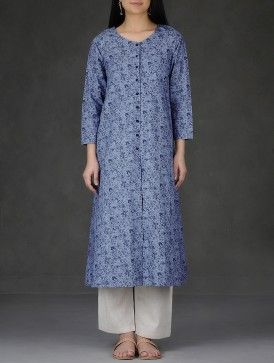 Blue Printed Front Slit Cotton Slub Kurta-XL