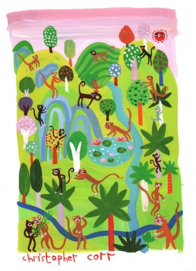 'And so the monkeys went off in every direction...'  From 'Rama and Sita' published by Bloomsbury in 2012  Media used: Gouache      Original Published Artwork      Unmounted      Dimensions: 165 x 225 mm           £195.00