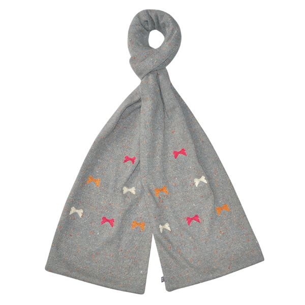 Embroidered Knitted Bow Scarf - Grey