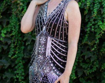 1920s stijl Black Silver Beaded STARLIGHT Flapper jurk-S tot XL en pLus maten