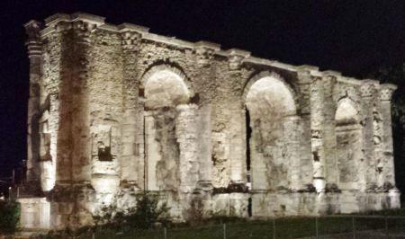 Reims, France - Porte Mars at Night