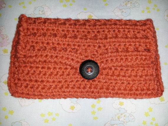 Salmon Clutch/Wallet by MamaKatCrochet on Etsy, $10.00