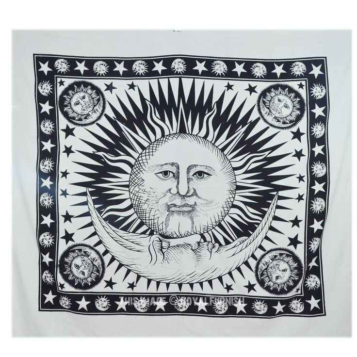 Black and White Sun and Moon Stars Tapestry Wall Hanging on RoyalFurnish.com, $21.56