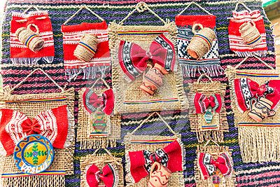 Romanian traditional embroidery and objects on sale in Vaslui city