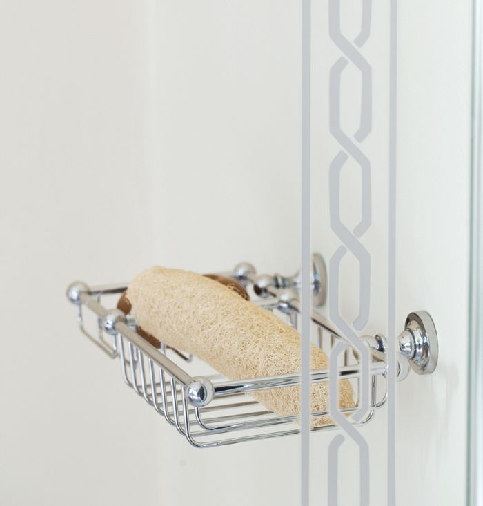 Queen large soap and sponge basket chrome.