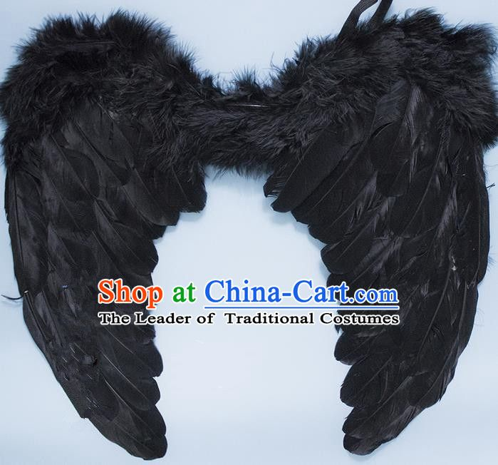 Chinese Children Kindergarten Stage Performance Prop Angel Black Feather Butterfly Wings For Kids Black Feathers Butterfly Wings Kindergarten Kids