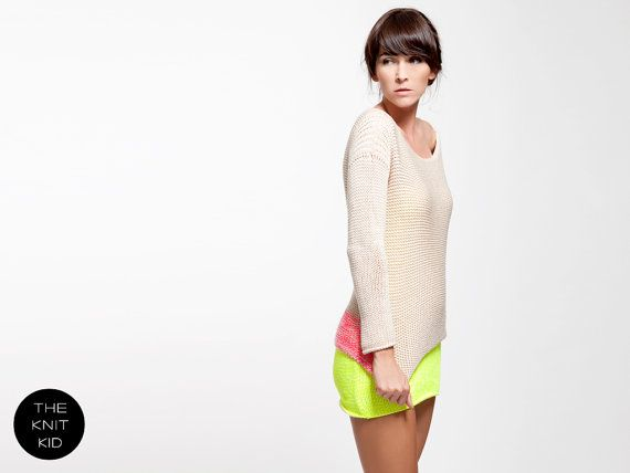 knitted sweater nude light beige neon pink mottled by THEKNITKID, €300.00