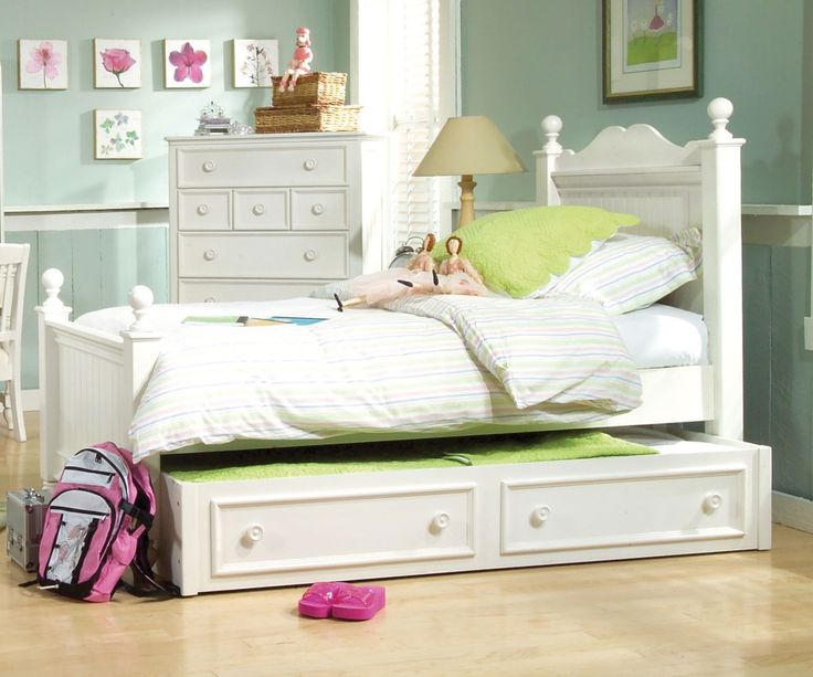 Legacy Classic Kids Furniture Summer Breeze Low Poster Bed with Trundle Full Size 481-4204K