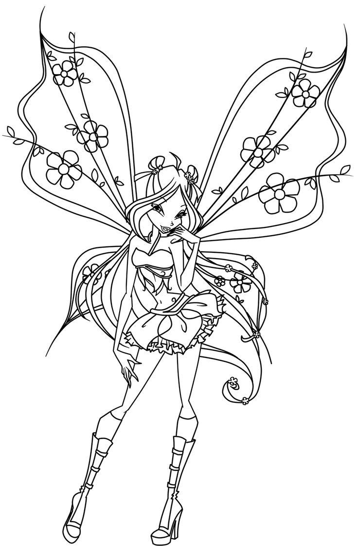 Adult Mystical Fairy Drawings | do wydrukowania dla dziewczynek kolorowanka wróżki Winx skrzydlata ..