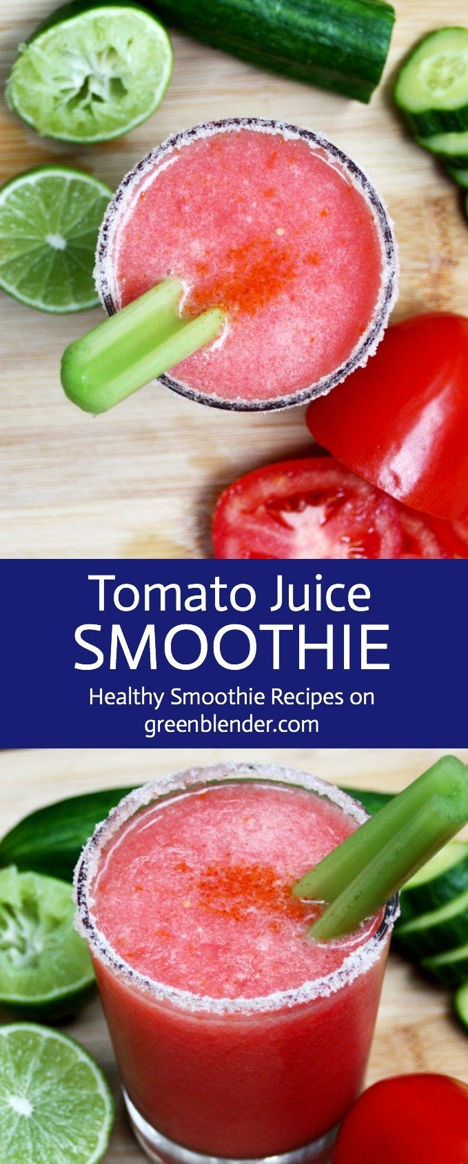 Homemade Tomato Juice on Green Blender