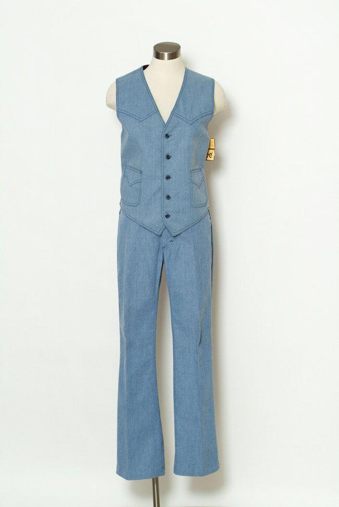 Vintage Lee Pant Western / Men's 70s / Lee / Suit / Vintage Denim / Denim / Mens Cowboy / Matching / Disco Hippie / Country Costume by VintageBoxFashions on Etsy