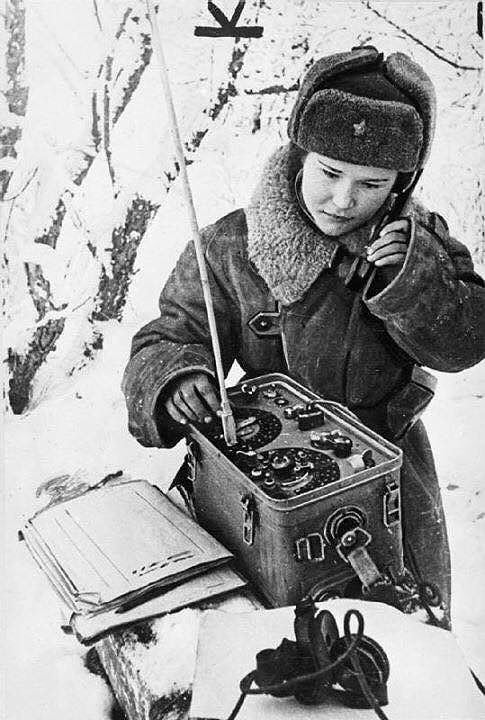 Female radio operator of the Soviet Army.